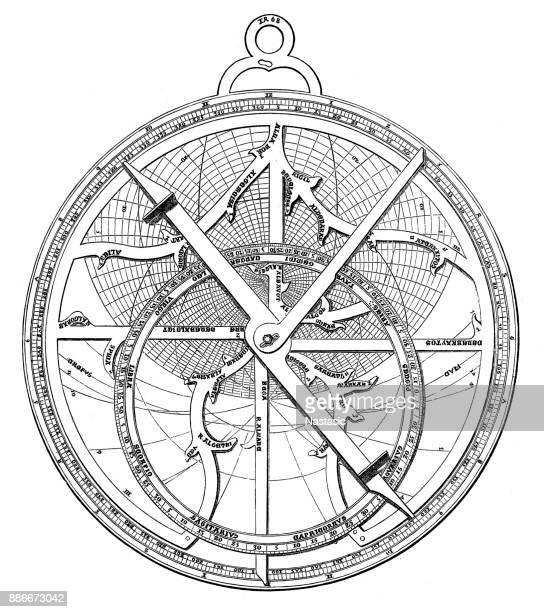 astrolabe - astronomy stock illustrations