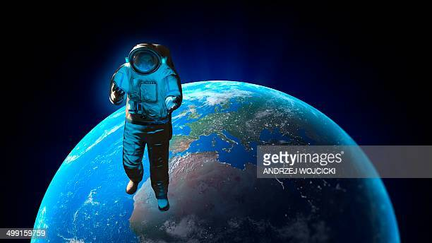 ilustraciones, imágenes clip art, dibujos animados e iconos de stock de astronaut and planet earth, artwork - sistema solar