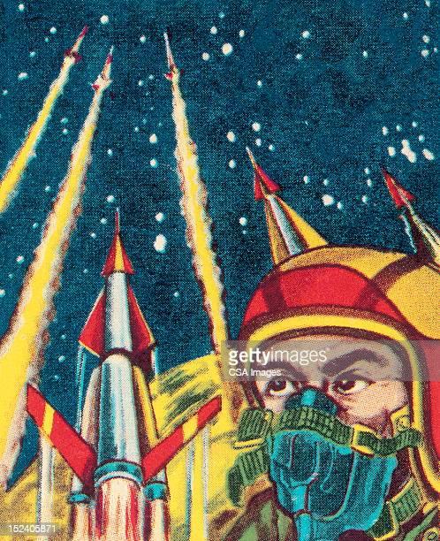 Astronaute et Rockets de lancement