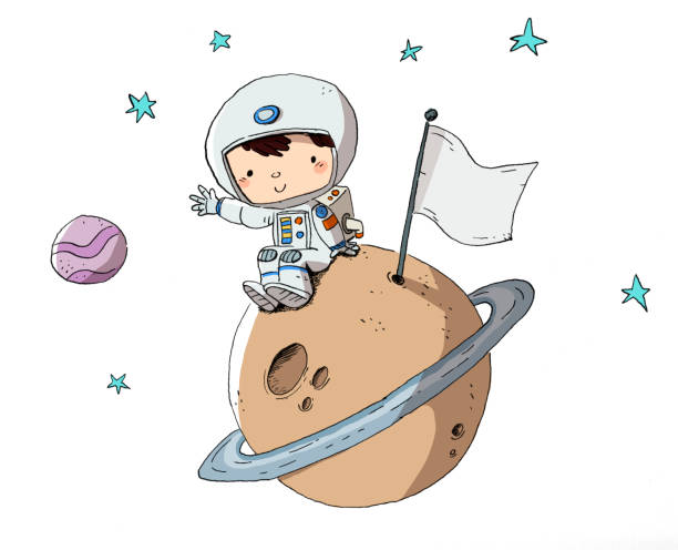 Astronaut, child in space sitting on a planet