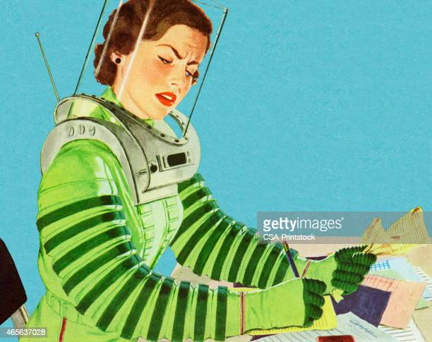 ilustrações de stock, clip art, desenhos animados e ícones de astronauta fazer papelada - astronauta
