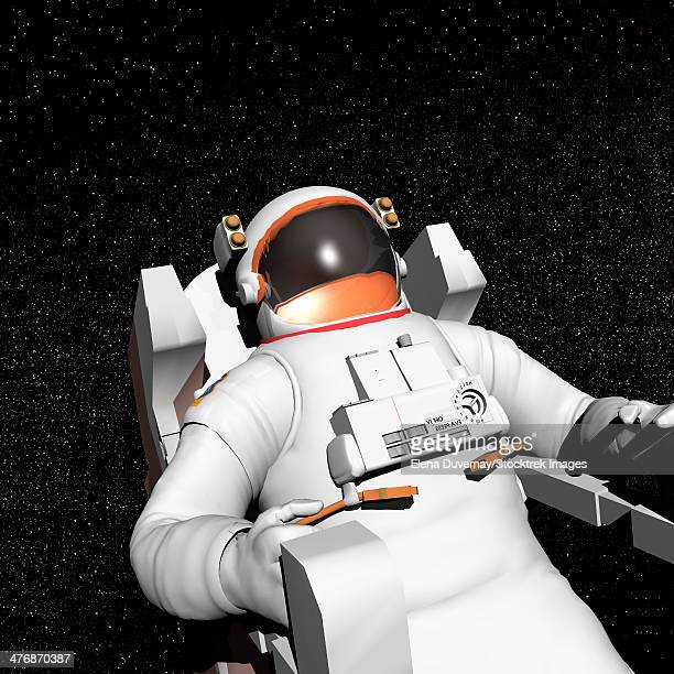 Astronaut floating alone in the dark space surrounded with stars.
