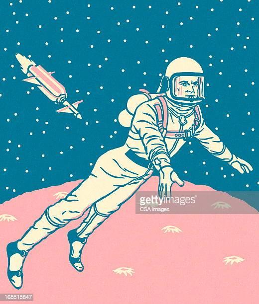 ilustrações de stock, clip art, desenhos animados e ícones de astronauta no espaço - astronauta