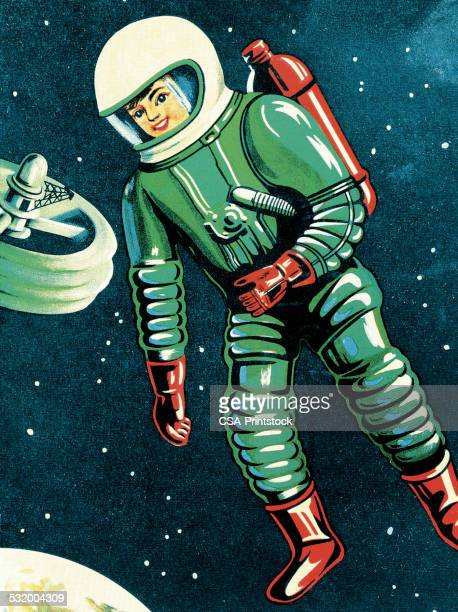 astronaut in outer space - astronaut stock illustrations, clip art, cartoons, & icons