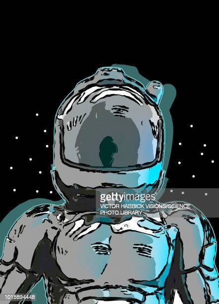 astronaut in space helmet, illustration - work helmet stock illustrations