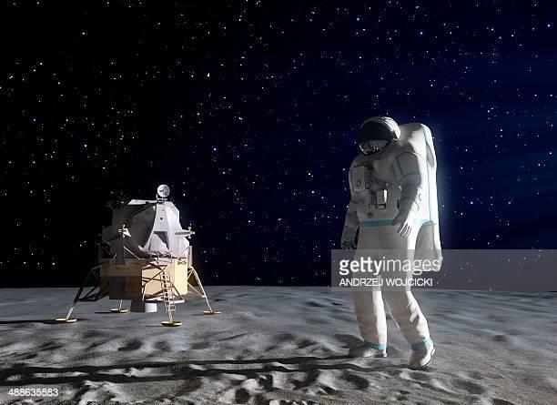 ilustrações de stock, clip art, desenhos animados e ícones de astronaut on the moon, artwork - astronauta