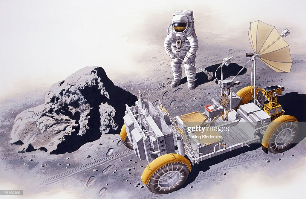 Astronaut standing near Lunar Roving Vehicle (LRV) and boulder on surface of moon, elevated view : stock illustration