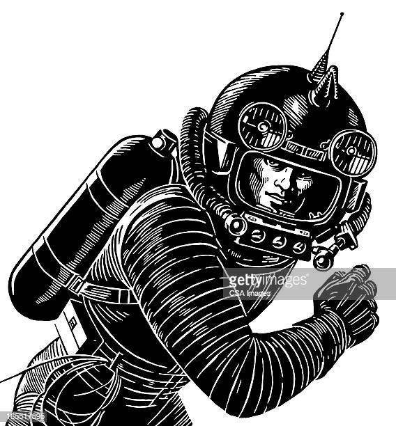 astronaut wearing a spacesuit - astronaut stock illustrations, clip art, cartoons, & icons