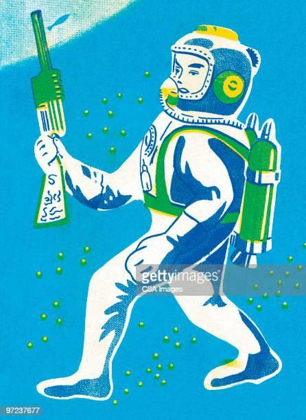 Astronaute avec arme à feu