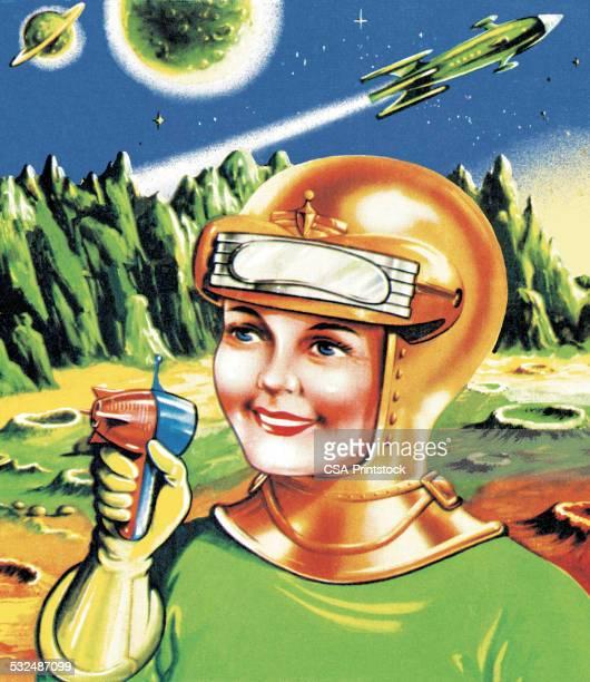 Astronauta com Ray arma no planeta