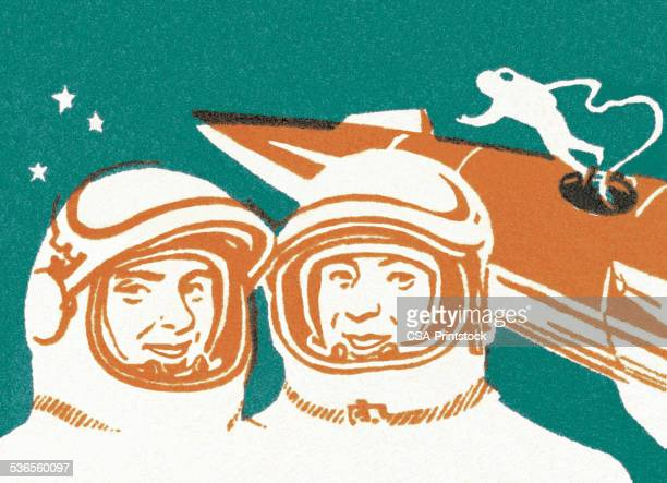 astronauts in outer space - astronaut stock illustrations, clip art, cartoons, & icons