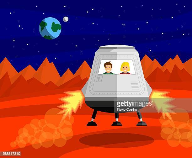 astronauts landing on mars - journey stock illustrations