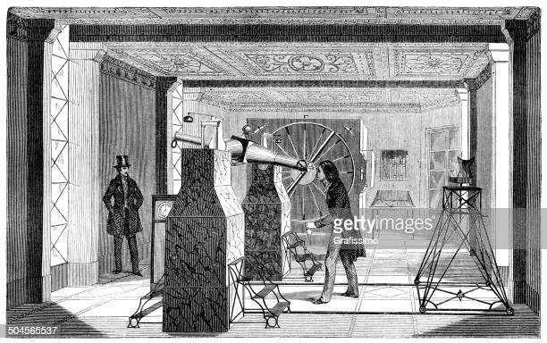 Astronomer observing through telescope at observatory in Paris 1849