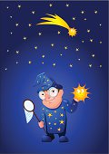 Astronomer with a catched star in his hand