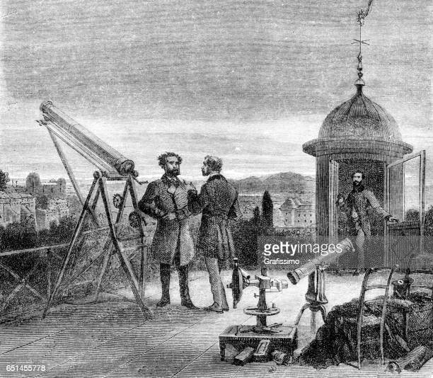 Astronomer with telescope watching nightsky over Paris 1868