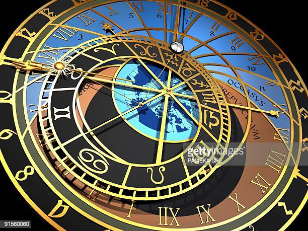 astronomical clock - prague stock illustrations, clip art, cartoons, & icons