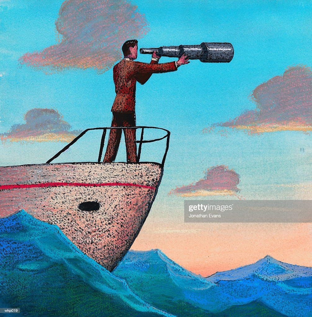 At Sea with Telescope : Stockillustraties