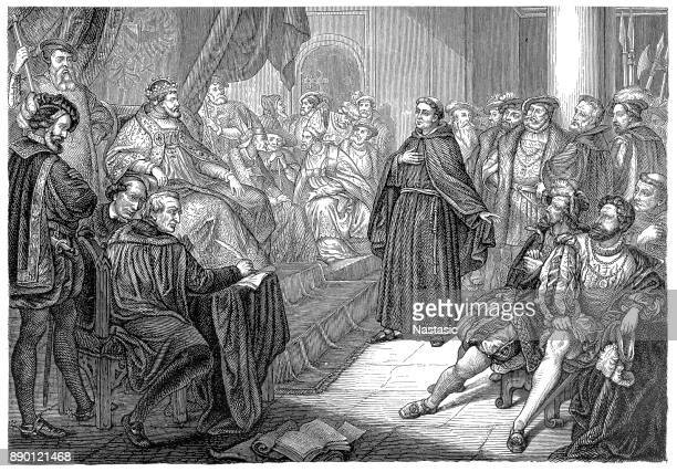 at the diet of worms, luther defends his opinions before the emperor and an assembly of notables from church and state ; proscribed, he goes into protective hiding date: 17 april 1521 - protestantism stock illustrations