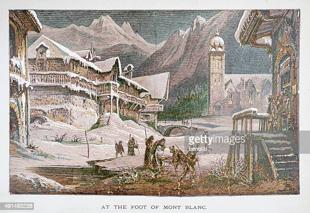 at the foot of mont blanc - mont blanc stock illustrations, clip art, cartoons, & icons