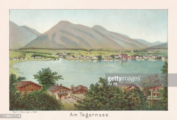 at the tegernsee in bavaria, germany, chromolithograph, published in 1888 - tegernsee stock illustrations