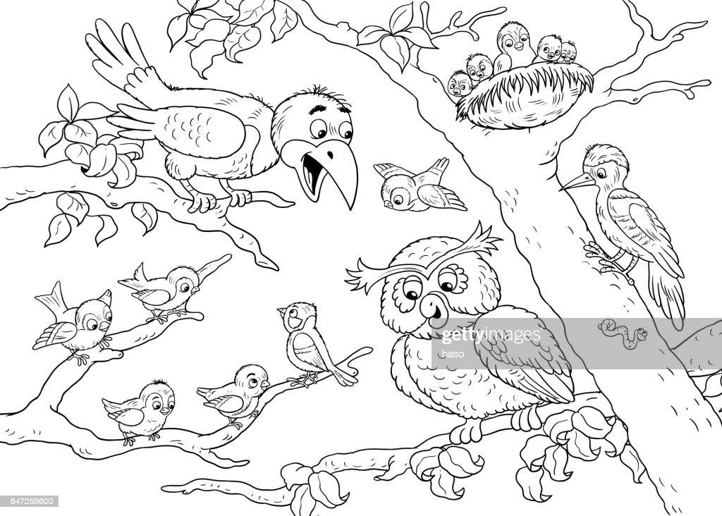 Kleurplaten Van Dieren In Het Bos.In De Dierentuin Schattige Bos Dieren Forest Vogels Illustratie Voor
