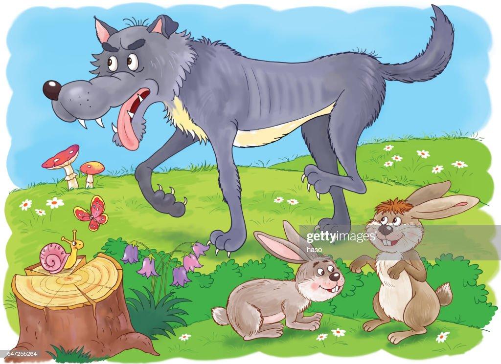 Im Zoo Niedliche Waldtiere Wolf Und Hasen Illustration Für Kinder