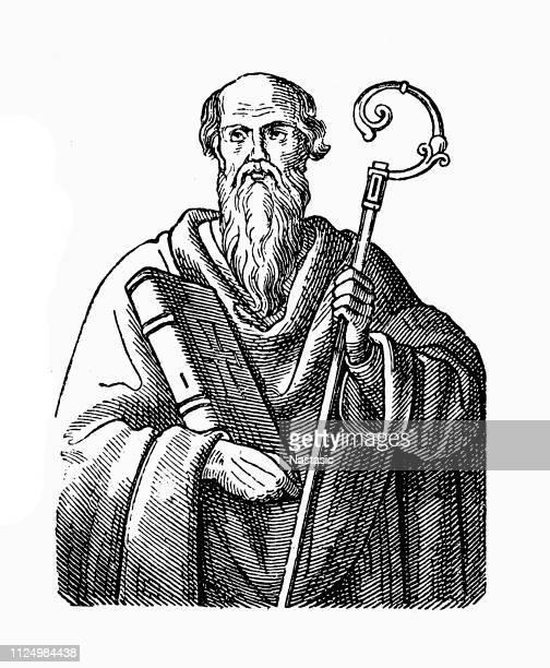 ilustrações, clipart, desenhos animados e ícones de atanásio de alexandria (c.298-373), bispo de alexandria - bishop clergy