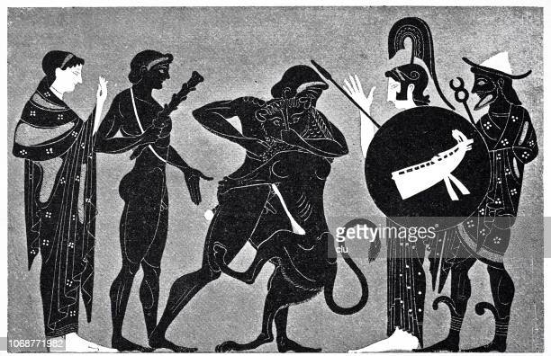athena and hermes and the nemean lion - greek people stock illustrations, clip art, cartoons, & icons