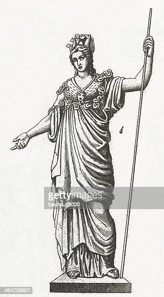 ilustraciones, imágenes clip art, dibujos animados e iconos de stock de athena grabado - roman goddess