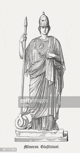 athena giustiniani (or giustiniani minerva), published in 1878 - roman goddess stock illustrations