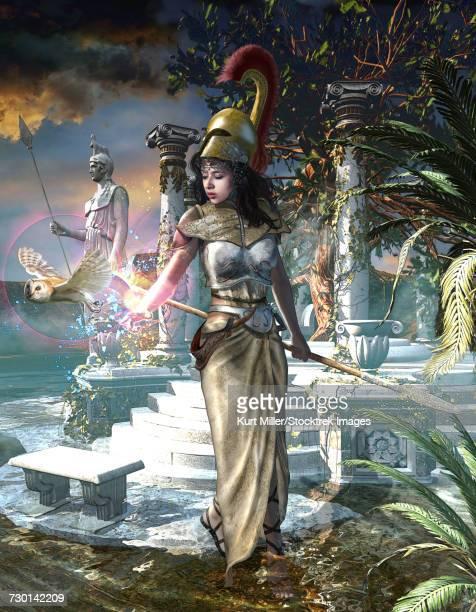 ilustraciones, imágenes clip art, dibujos animados e iconos de stock de athena the greek virgin goddess of wisdom, arts and literature.  - criptozoología
