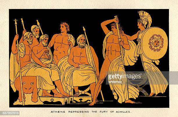 illustrations, cliparts, dessins animés et icônes de athene à la répression les fury d'achille - ulysse