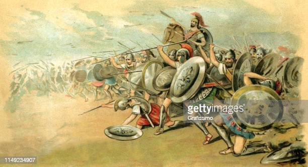 athenian in the battle of marathon 490 bc - ancient greece stock illustrations