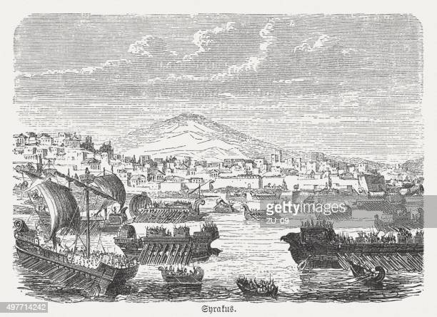 athenians before syracuse during the peloponnesian war, published in 1882 - sparta greece stock illustrations, clip art, cartoons, & icons