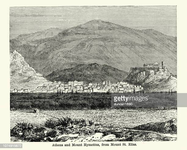 athens and mount hymettus,19th century - athens georgia stock illustrations, clip art, cartoons, & icons