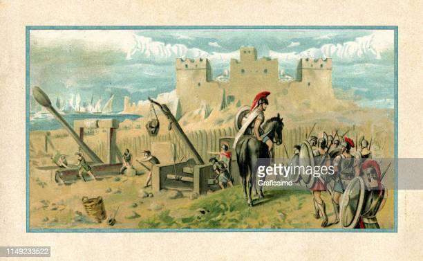 ilustrações, clipart, desenhos animados e ícones de atenas conquista a colônia coríntia de siracusa na sicília na guerra do peloponeso - lacônia grécia