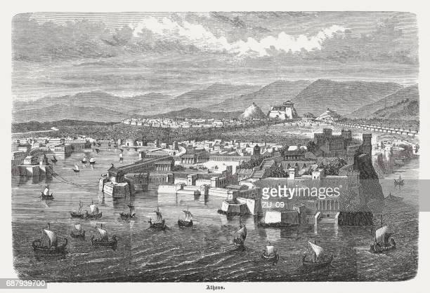 athens, view from piraeus, wood engraving, published 1880 - piraeus stock illustrations
