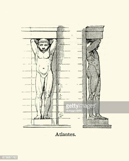atlantes - atlas (architecture) - model to scale stock illustrations, clip art, cartoons, & icons