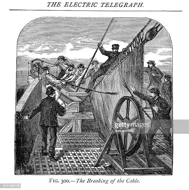 atlantic telegraph cable, 1866 - steel cable stock illustrations, clip art, cartoons, & icons
