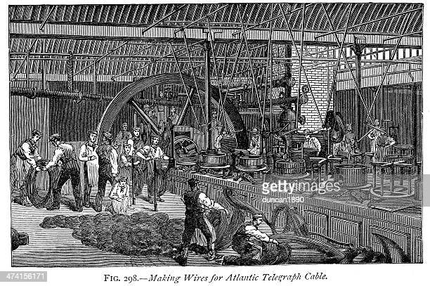 atlantic telegraph cable, 1866 - steel cable stock illustrations