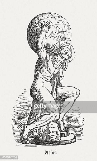 atlas, figure of the greek mythology, wood engraving, published 1880 - greece stock illustrations