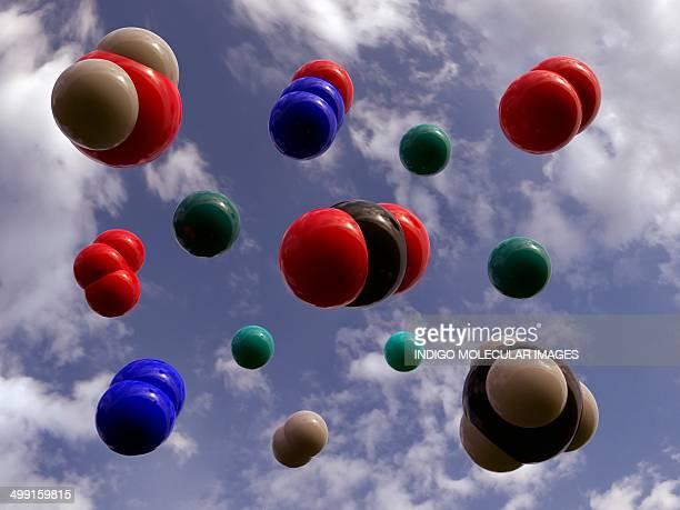 Atmospheric gas molecules, artwork