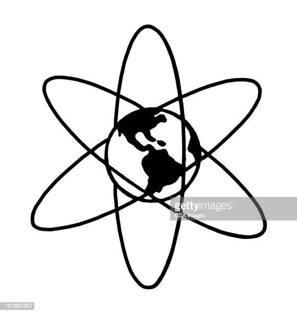 atom and globe - atom stock illustrations
