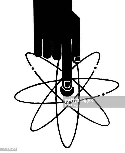 atomic bomb button - war stock illustrations