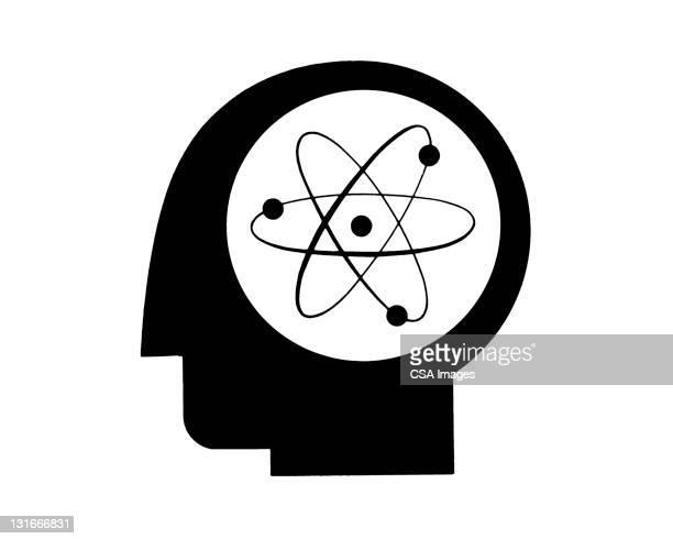 ilustraciones, imágenes clip art, dibujos animados e iconos de stock de atomic thinking - cerebral nuclei