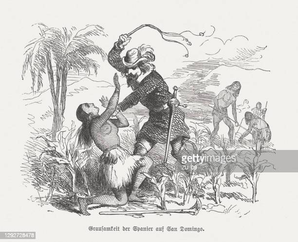 atrocities of the spaniards on santo domingo, woodcut, published 1876 - spanish culture stock illustrations