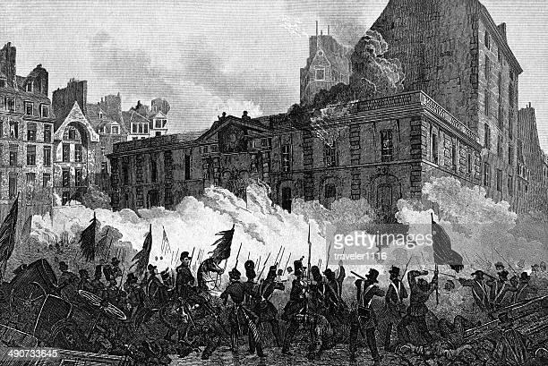attack of the royal palace during the french revolution - revolution stock illustrations, clip art, cartoons, & icons