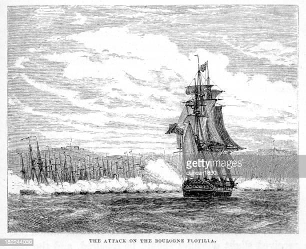 illustrations, cliparts, dessins animés et icônes de attaque sur le boulogne flotille - guerres napoléoniennes