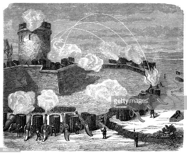 attack on the fortress in the sixteenth century - hundred years war stock illustrations, clip art, cartoons, & icons