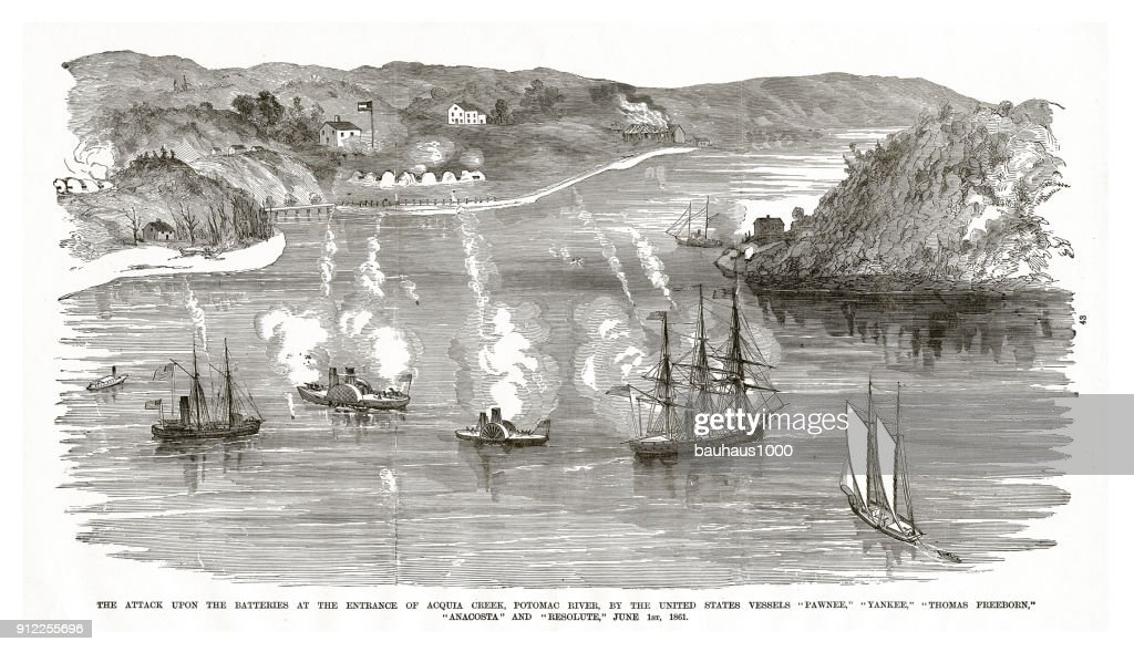 Attack Upon the Batteries at the Entrance of Acqua Creek, Potomac River, by various United States Vessels, June 1, 1861, Civil War Engraving : stock illustration